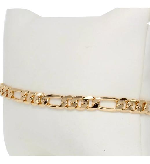 Esclava Delagada De Hombre Mujer Cartier Figaro Nueva De Oro Lamin. De 18k De 19cm X 4mm