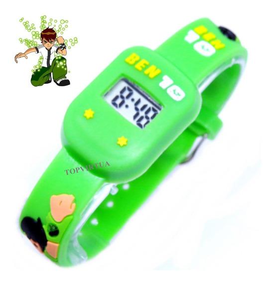 Relógio Ben10 Quadrado Infantil Digital 3d Verde P. Entrega