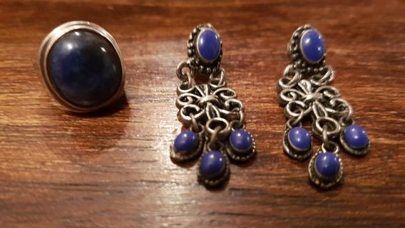 Brincos E Anel Pedra Azul