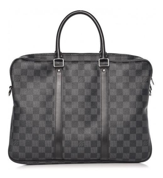 Pasta Masculina Louis Vuitton Voyage Damier Graphite Couro Legítimo C/ Código Série Premium Top Acompanha Dust Bag 24 Hr