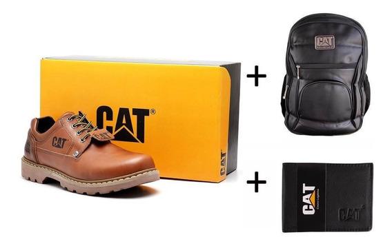 Kit Sapato Bota Carterpillar+mochila+carteira Promoção