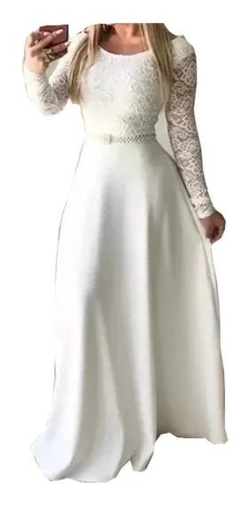 Vestido Longo Noiva , Casamento Civil , Moda Evangelica