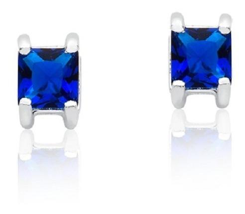 Brinco De Prata Feminino Carre Azul Safira Prata Rara
