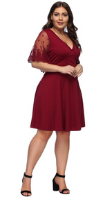 Vestido De Fiesta Elegante Talla Grande Rojo / Negro Pm05