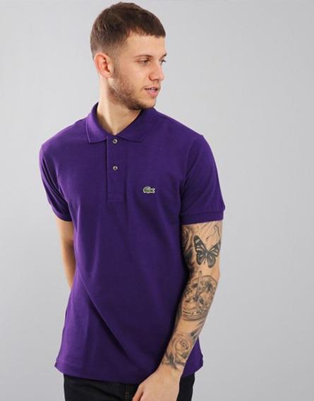 Camiseta Lacoste Gola Polo Violeta Lisa Importada Masculina