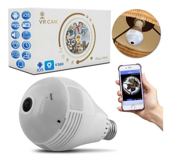 Lâmpada Espiã Câmera Ip Led Wifi Hd Panorâmica Celular