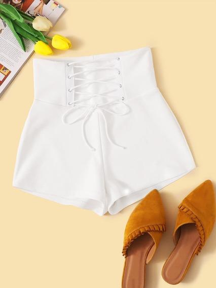 Shorts De Verano Con Cordón Delantero De Cintura Alta Moldea