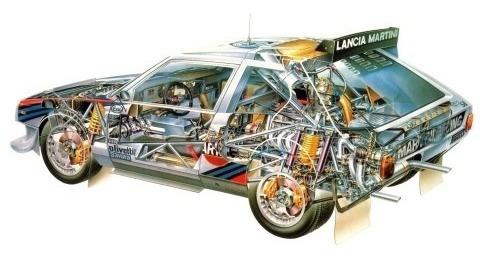 Lancia Delta Rally  Autos Clásicos Italia - Lámina 45x30 Cm.
