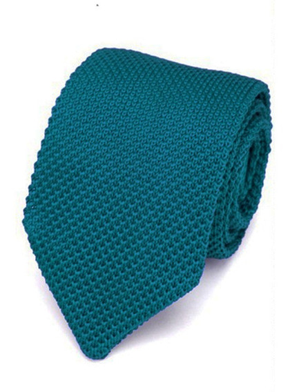 Corbata Tejida Con Punta Triangular Turquesa Para Caballero
