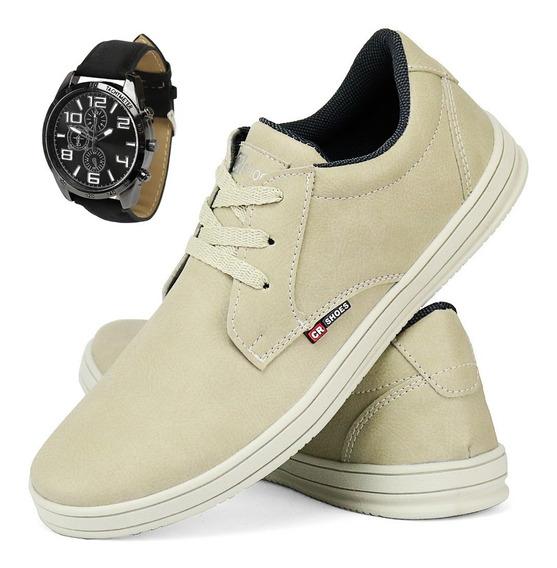 Kit Sapatênis Tênis Casual Cor Areia Sw Shoes Com Relógio