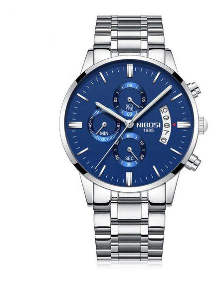 Relógio Nibosi Azul E Prata Anti-riscos A Prova D
