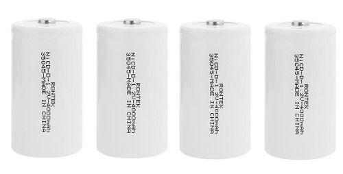 Kit 4 Unidades Bateria Recarregável Grande Tipo D4000 Rontek