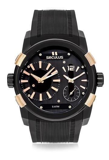 Relógio Seculus Masculino Dual Time Aço Black 17091gpsciu2