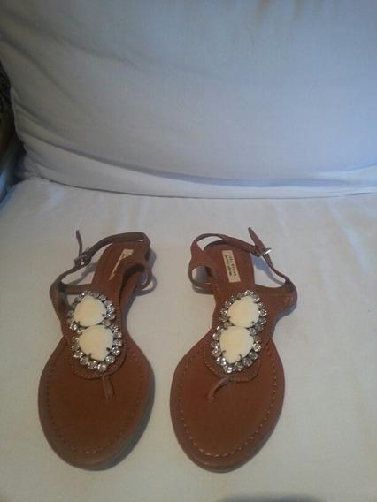Sandalias De Zara Cuero Marron Piedras Y Strass T 41 Nuevas