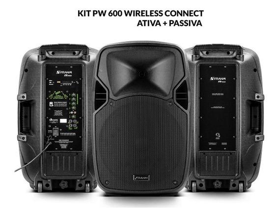Kit Caixa De Som Pw 600 Wireless Ativa + Passiva 1200w Rms