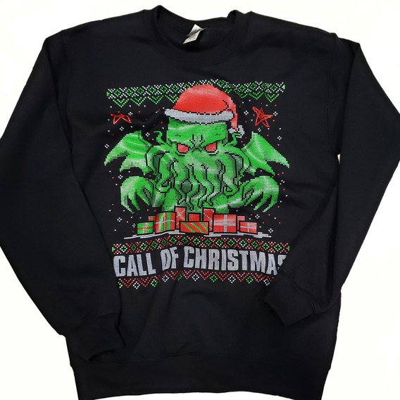 Cthulhu Lovecraft Necronomicon Ugly Merry Christmas Sueter
