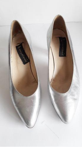 Zapatos Plateados De Cuero N39