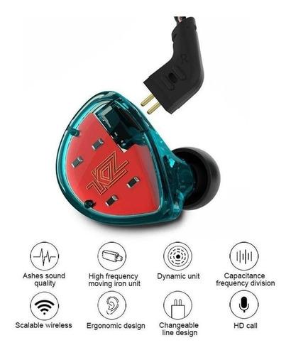 Imagen 1 de 4 de Kz Es4/cyan Auricular In-ear Sistema Híbrido Carcasa Ergonom