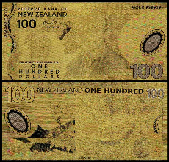 New Zealand 100 Dollars Ouro 24k Fantasia Fe * C O L *