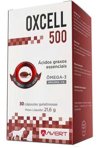 Imagem 1 de 2 de Suplemento Ômega 3 Avert Oxcell 500mg Cães Gatos 30 Cápsulas