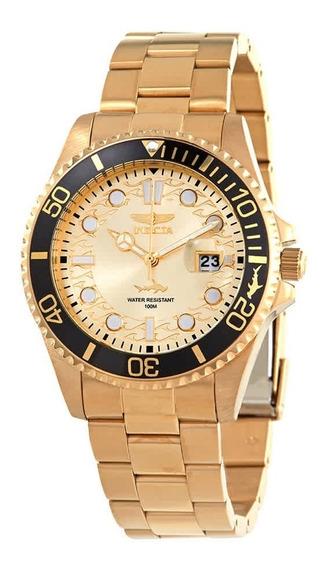 Relógio Invicta Pro Diver Champagne Mostrador Em Ouro-30025