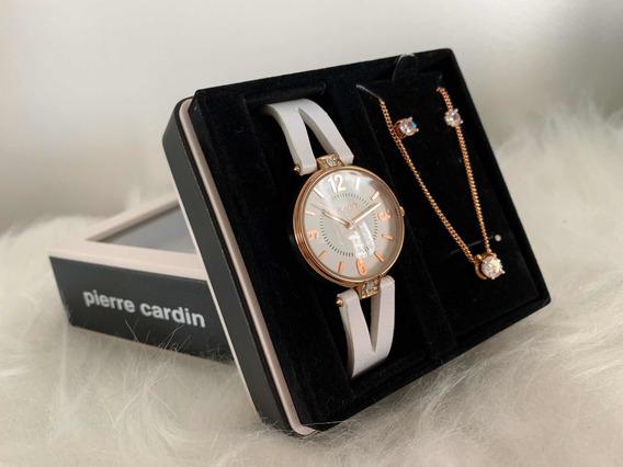 Relógio Pierre Cardin Feminino - Colar E Brincos Acompanha