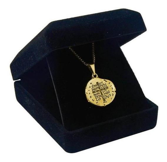 Cordão Colar Medalha Das Duas Cruzes De Pescoço Folheada A Ouro
