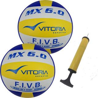 2 Bolas Volei Oficial Vitoria Mx 6.0 Pu Profissional + Bomba