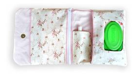 Porta Fralda Lenço Umedecido Pomada Bolsa Bebê Floral