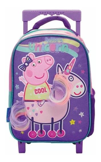 Mochila Carro Peppa Pig En Unicornio Con Apliques Multicolor