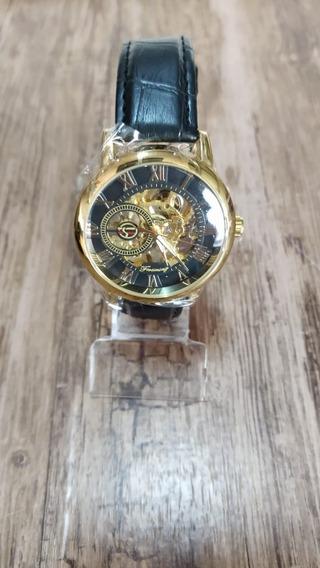 Relógio Forsining Masculino Automático Dourado Original