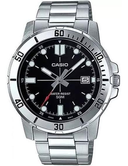 Relógio Casio Masculino Prata Preto Azul Mtp-vd01d-1evudf