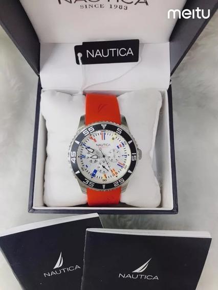 Relogio Ppk8989 Nautica Vermelho Mostrador Branco C/ Caixa