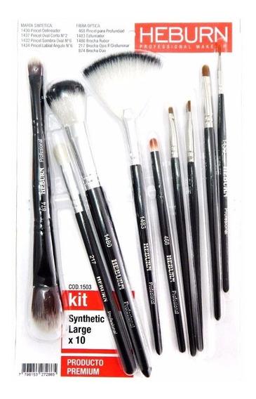 Kit Heburn Pinceles 1503 Brochas Maquillaje Set X10 + Cuotas
