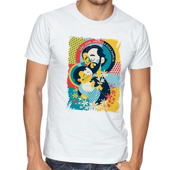 Camiseta São José Santo Igreja Blusas Manga Curta Tamanho