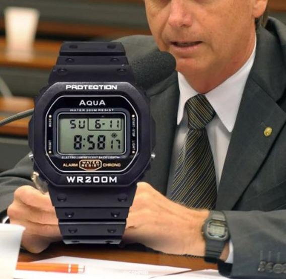 Relógio Jair Bolsonaro Promoção Original Aqua Wr200m Mito Frete Gratis