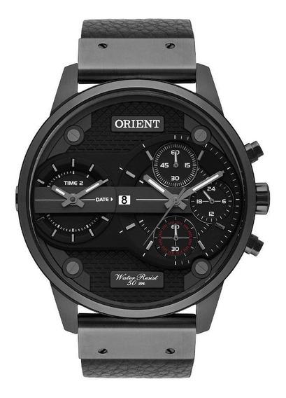 Relógio Preto Masculino Couro Orient Original Mpsct001 P1px