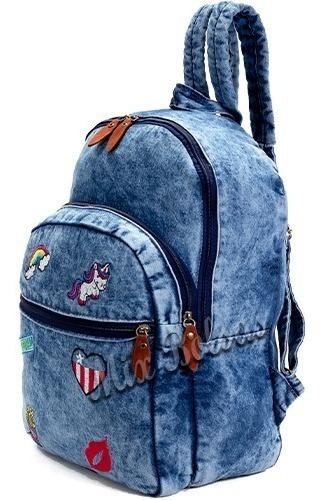 Mochila Jeans Feminina Personalizada Escolar Passeio Dia Dia