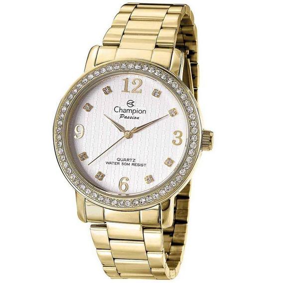 Relógio Feminino Passion Champion Dourado Cn29427h Promoção