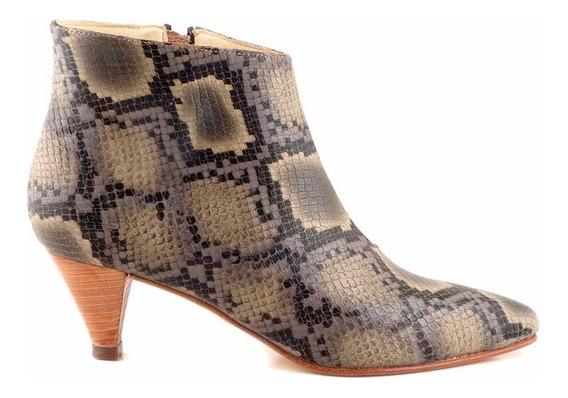 Botineta Mujer Cuero Briganti Zapato Bota Negro - Mcbo24887
