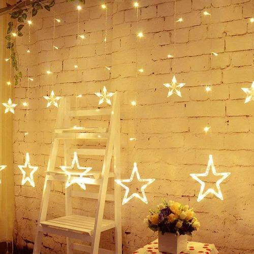 Imagen 1 de 8 de Guía De Estrellas Con Luces Led Luz Blanca Navidad A 220v
