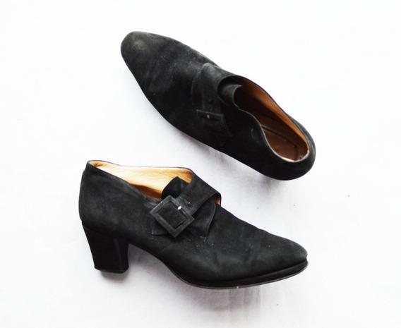 Zapatos Retro Gamuza Negros Talle 35 (plantilla 23 Cm) Usado