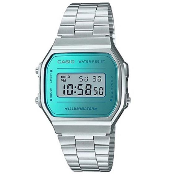 Relógio Unissex Casio Digital A168wem-2df - Prata/azul