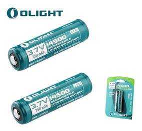2x Bateria Olight 14500 750mah Proteção Recarregável Li-ion