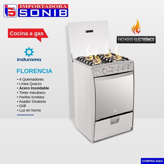 Cocina Indurama Florencia A Gas 4 Quemadores
