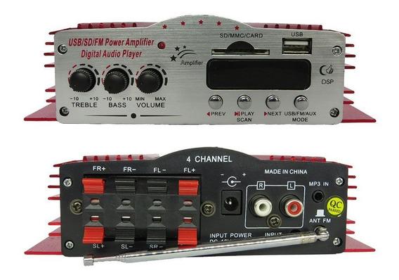 Amplificador Receiver Usb Bluetooth Sd Radio Fm Som 4 Canais