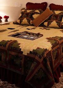 Conjunto Colcha Forest Cabin Patchwork Giulianna Fori