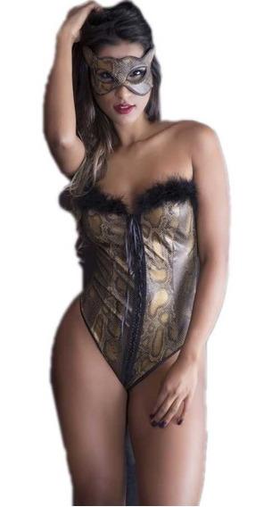 Lingerie Sensual Pantera Fantasia Body + Máscara Fretegrátis