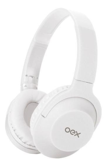 Fone De Ouvido Preto Dobrável Oex Com Microfone Branco Hs207