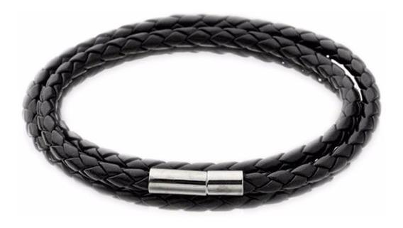 Pulseira Bracelete Masculina Couro Trançado Preto - Kit C/ 2
